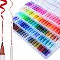 100 Dupla Escova de Caneta de Ponta de Feltro Material escolar caneta de caligrafia Desenho Mangá Marcador arte artístico dupla ponta Caneta Pincel de aquarela