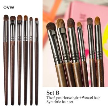 OVW Cosmetic 2/6 pcs Goat Hair Makeup Eye Shadow Brush Set Tool Ultra Soft Make Up Tapered Blender Diffuse Kit Cut Crease Brush 2