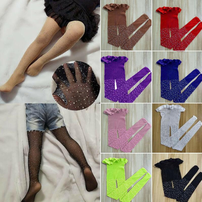 Kids Girl Mesh Rhinestone Fishnet Pantyhose Tights Stockings Children High Socks
