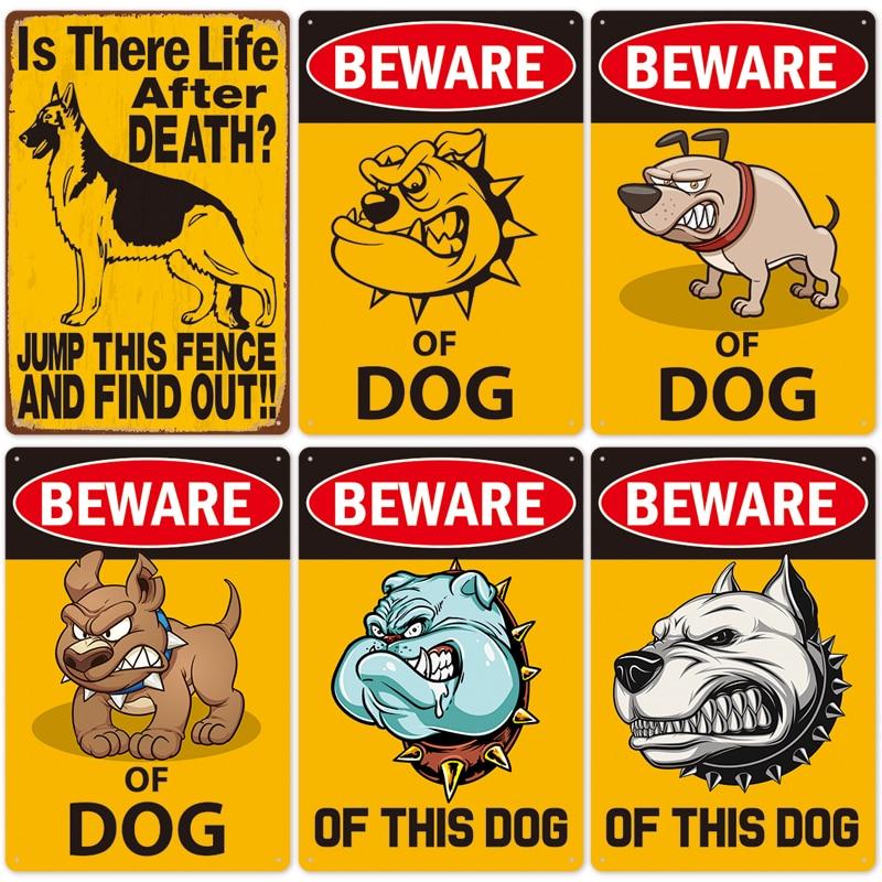 Warning Dog Metal Tin Signs Vintage Metal Poster Sign Plate Beware Retro Tinplate Plaque Metal Decoration for Bar Pub Club