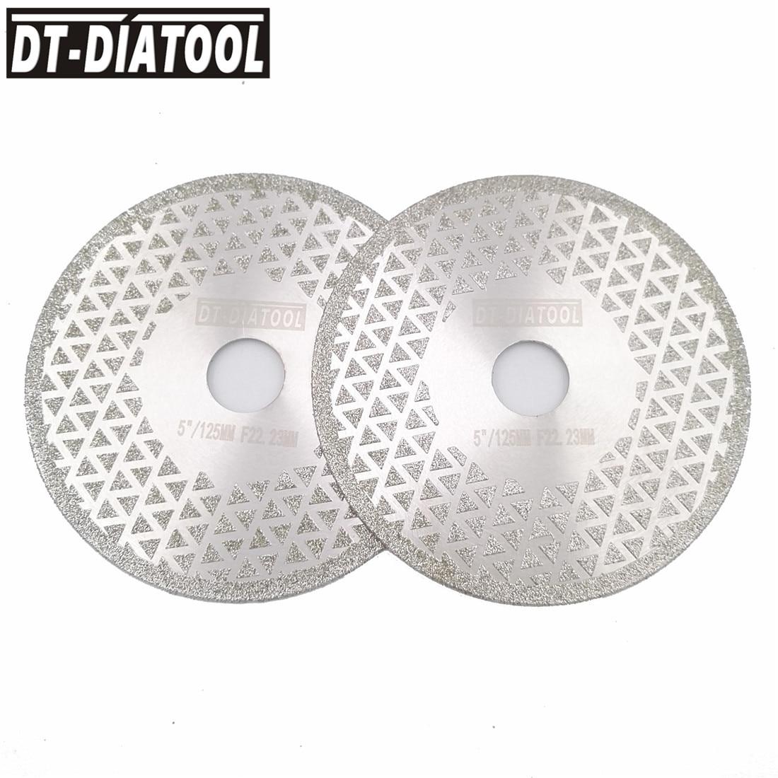 Corte de Diamante Ambos os Lados Lâmina de Serra para Mármore de Granito Dt-diatool Pces 125mm Galvanizado Disco Moagem Furo 22.23mm Revestido 2 5 –
