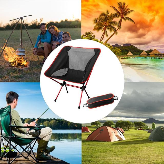 Portable Moon Chair Lightweight Fishing Camping BBQ Chairs Folding Extended Hiking Seat Garden Ultralight Office Home Furniture 1