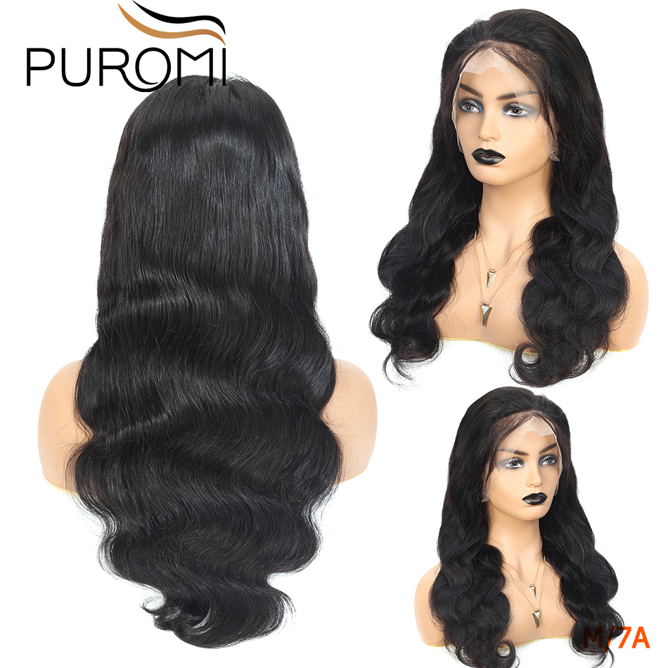 Puromi 360 Lace Frontal Wigs 130% Density Body Lace Frontal Human Hair Wigs for Black Women Remy Hair Brazilian Lace Wig