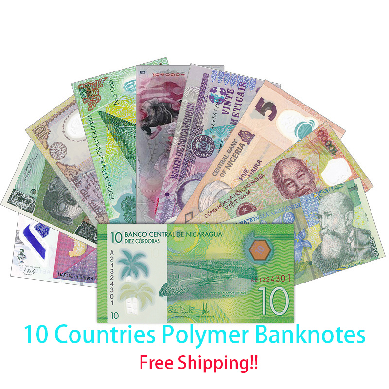 Free shipping! Lot 10 PCS Polymer Banknotes Set from 10 Different Countries, UNC, Gift, Collection, Original Notes