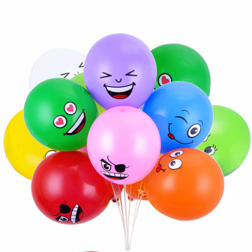 12pcs Cute Expression Party Balloons Home Decor Latex Multicolor Balloons For Party Wedding Decorations Spotted Balloon 7-12inch
