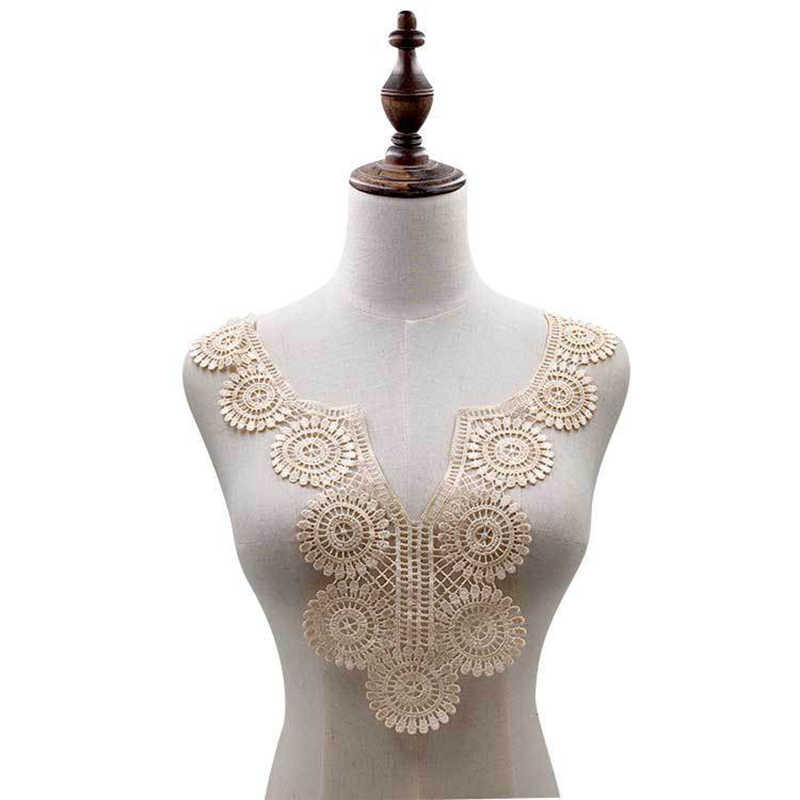 Tissu en dentelle de 4 couleurs, 35x37cm, col appliqué brodé, fournitures de couture, pour Scrapbooking