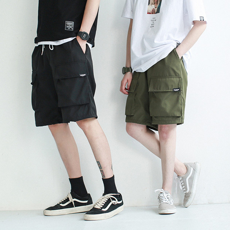 Cargo Bib Overall Men's Popular Brand Summer Shorts Male Fifth Pants Sub-Straight-Cut Loose-Fit Hip Hop National Trends Casual P