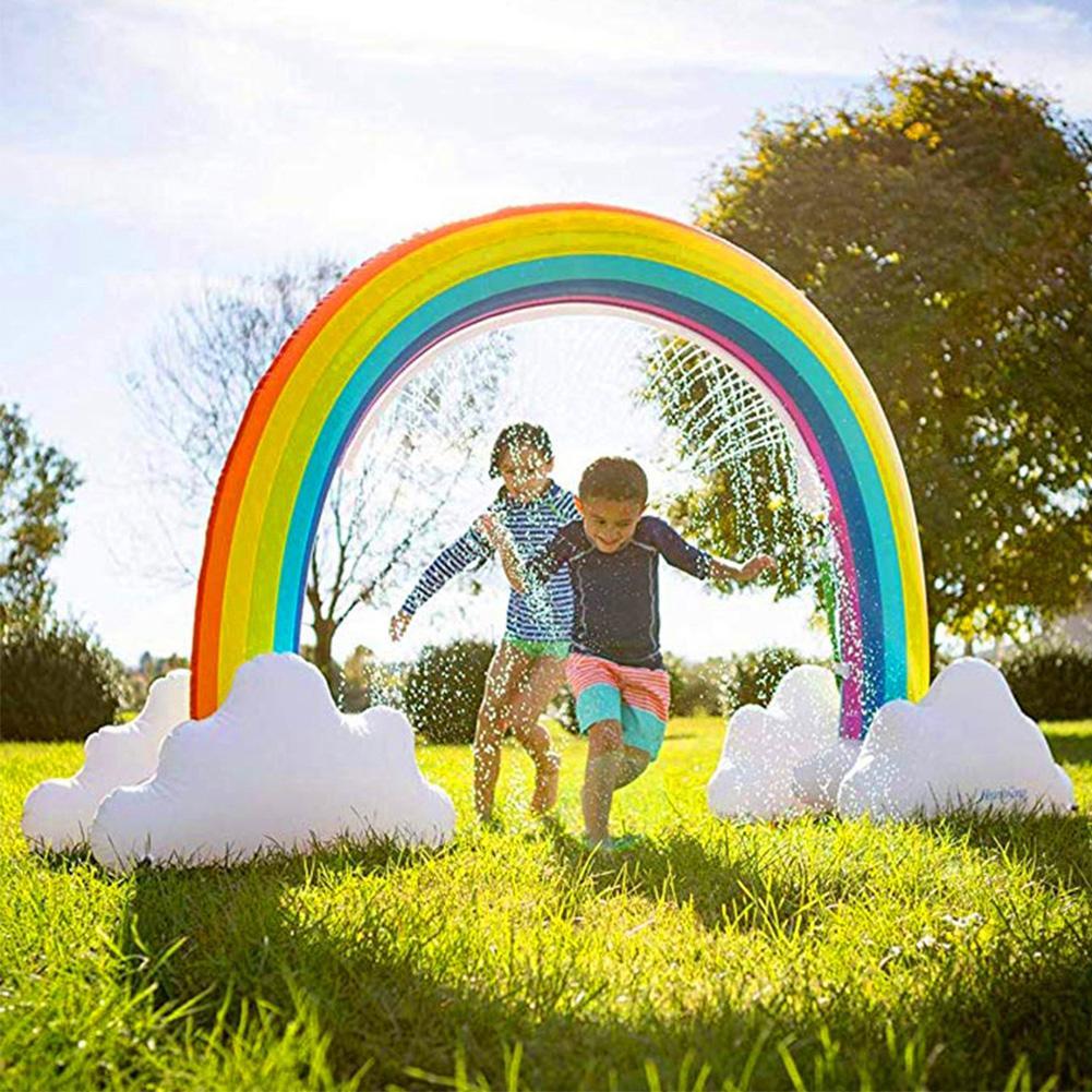 Ginormous arc-en-ciel nuage cour arroseur grande arche gonflable pelouse plage extérieur pour enfant adulte bébé jeux