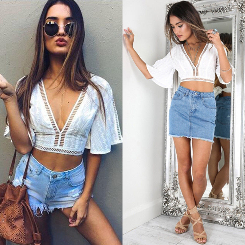 Lace Women Short Tops Sexy Low-cut V-neck Tank Tops Solid Color Openwork Pattern Short-sleeve Tops Mujer Verano 2019 Haut Femme image