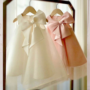 2021 nowa dziewczęca sukienka w kwiaty dziecięce ubranka do chrztu dla dzieci elegancka duża kokarda sukienki dziewczęce Boutique ubrania imprezowe sukienki