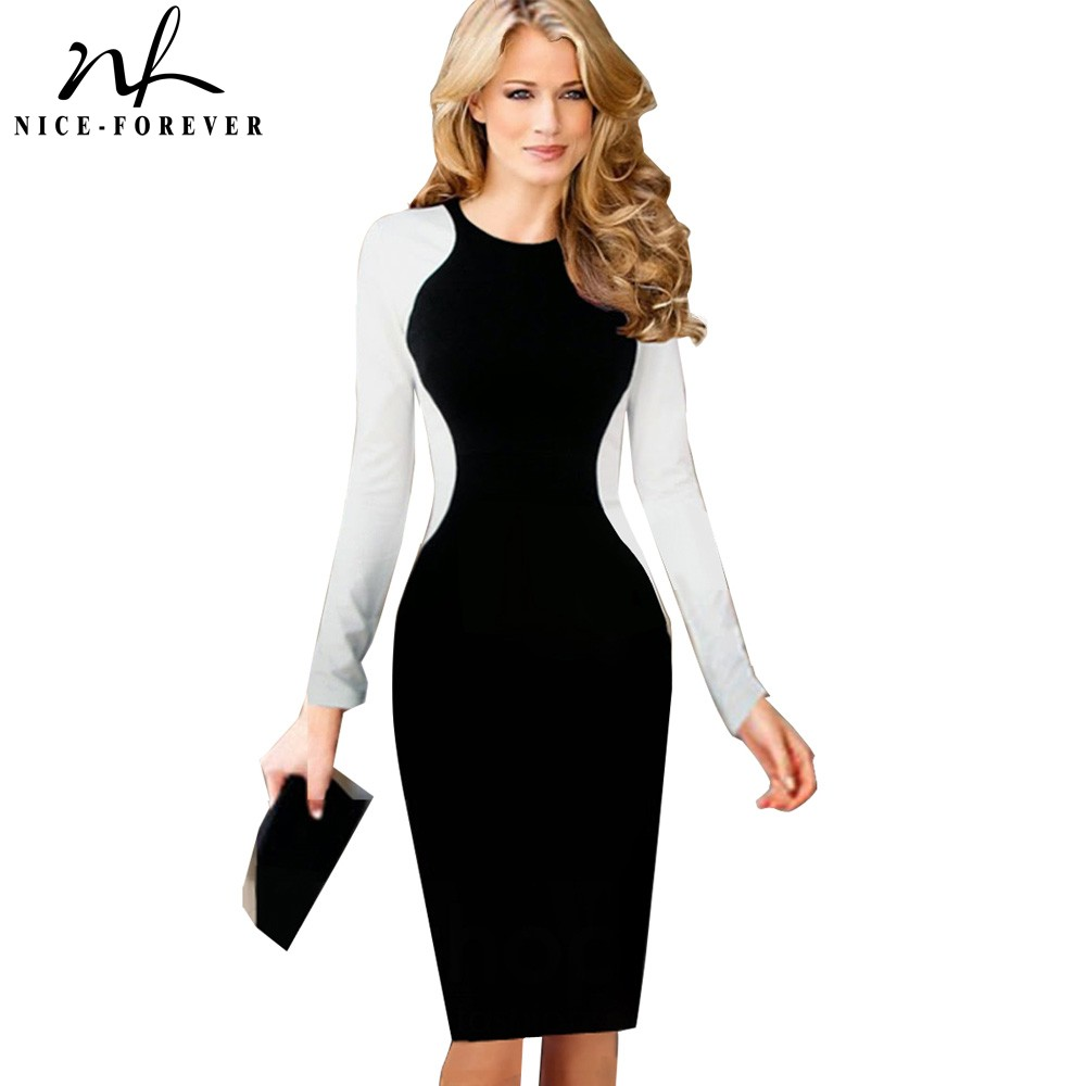Nice-forever Women Optical Illusion Colorblock Vestidos Bodycon Business Party Sheath Dress G752