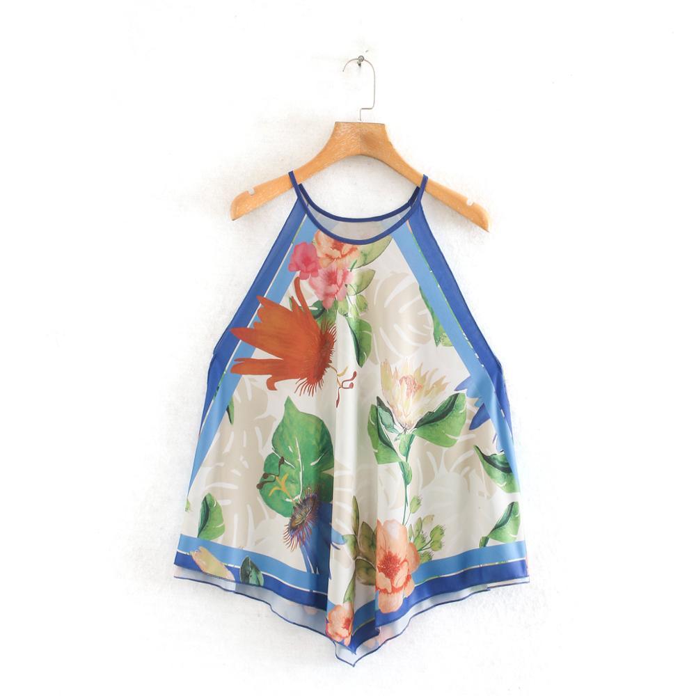 New Women Vintage Floral Print Halter Shirt Blouses Women Sleeveless Casual Roupas Chic Femininas Tops Chemise Shirts LS6473
