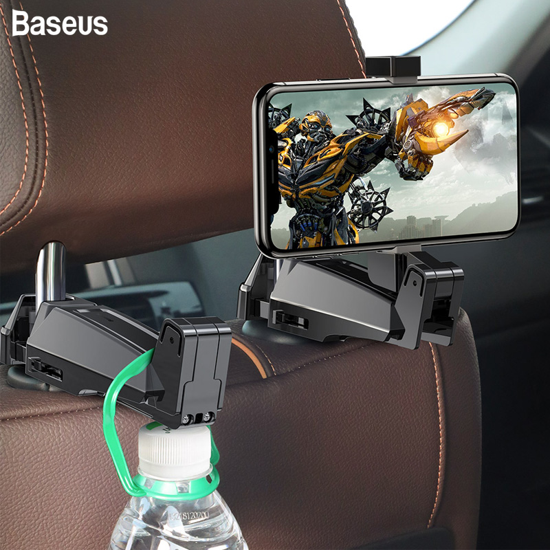 Baseus Car Back Seat Hook Hanging Storage Mount Holder Mobile Phone 4.0-6.5 Inch Universal 360 Rotation Auto Car Phone Holder