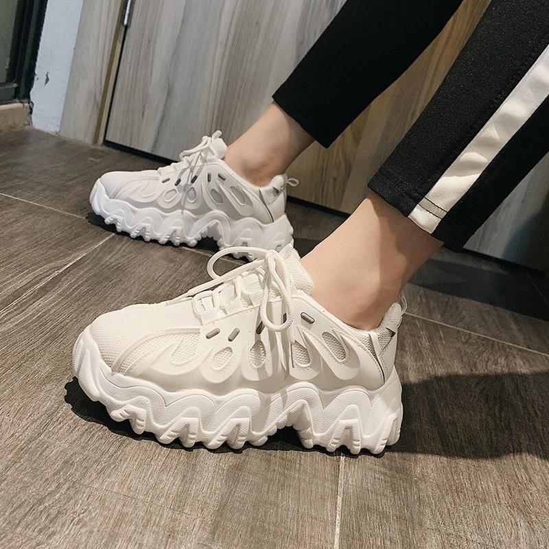 2020 dames plate-forme épaisse baskets mode blanc Tenis femme chaussures femme décontractées marche Comfor femmes vulcanisé chaussures printemps