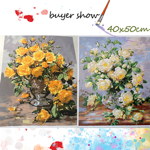 Image 4 - AZQSD Oil Painting Flower In Vase Painting By Numbers Paint Flower DIY Canvas Picture Hand Painted Home Decoration SZYH6310