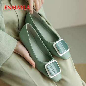 ENMAYLA 2020 Low Square Heels Women Shoes Square Toe Casual  Candy Color Genuine Leather Slip-On Luxury Women Pumps Size 34-41