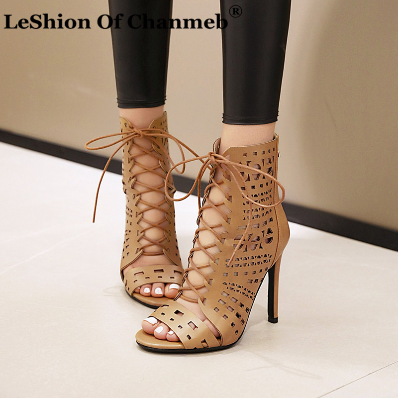 Stiletto high Heels Shoes Woman peep Toe Hollow Out Summer Shoes Female Sandals Women