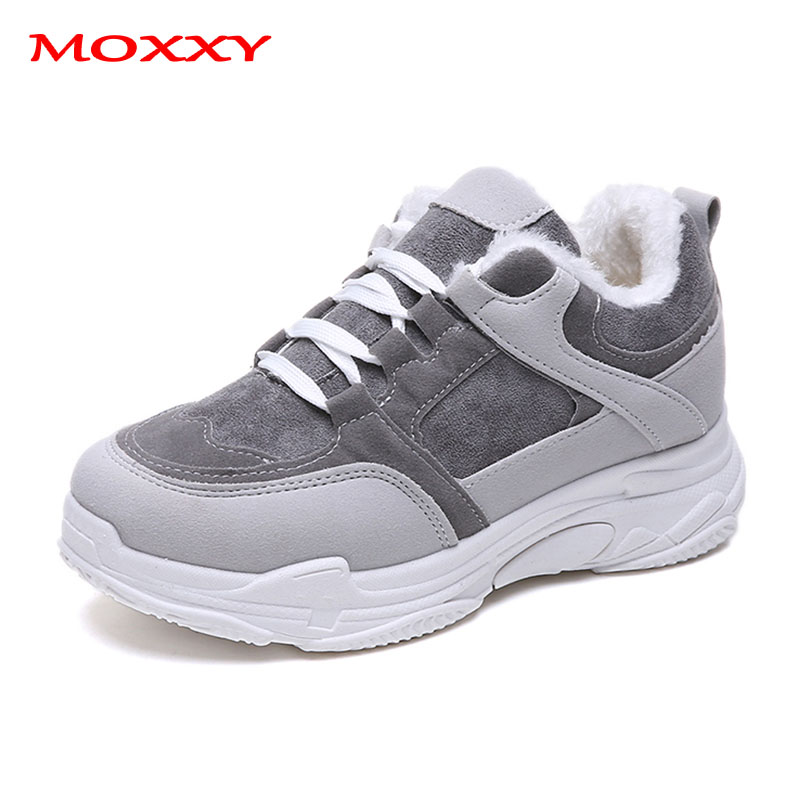 2019 New Fashion Women's Winter Sneakers With Fur Warm Ladies Chunky Sneakers Platform Plush Retro Grey Pink Casual Shoes Woman
