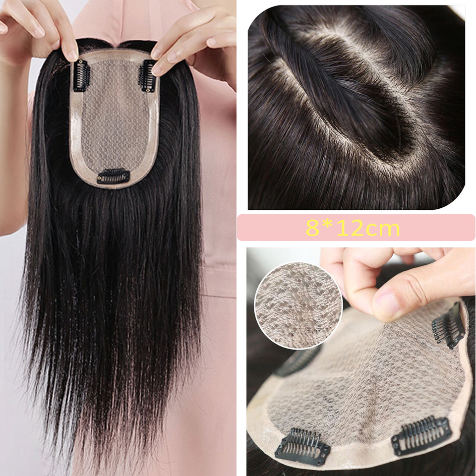 Straight  Men's Toupee Mono PU Hair 8*12 Cm Size Brazilian Remy Hair Pre Plucked Women Fine Mono Base Toupee With Clips