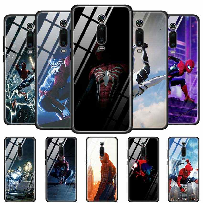 Tempered Glass Case for Redmi 7 8A Note6 7 8 K20 K20 Pro Shell for Xiaomi Mi A3 CC9E CC9 Back Shell Spider-Man Marvel Spider Man