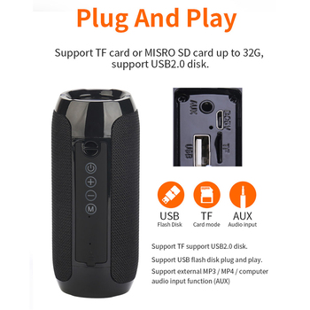 Outdoor Bluetooth Speaker Portable Bass Stereo Wireless Column Subwoofer Computer Speaker Support FM Waterproof Speakers 6