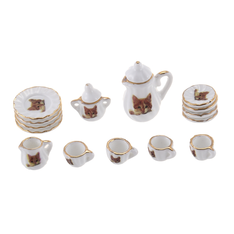Set Of 15pcs Dolls House Miniature Porcelain Tableware Coffee Tea Cup Saucer Set Cat Print