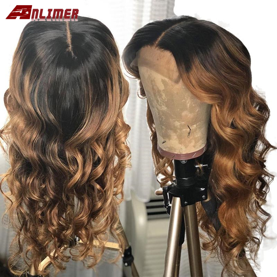 Ombre Blonde T#1b/30 Lace Front Human Hair Wigs Brazilian Virgin Wavy Human Hair With Pre-Plucked Hairline Wigs For Women