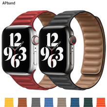 Leather Link strap For Apple watch band 44mm 40mm 38mm 42mm watchabnd original Magnetic Loop bracelet iWatch seires 3 5 4 6 SE