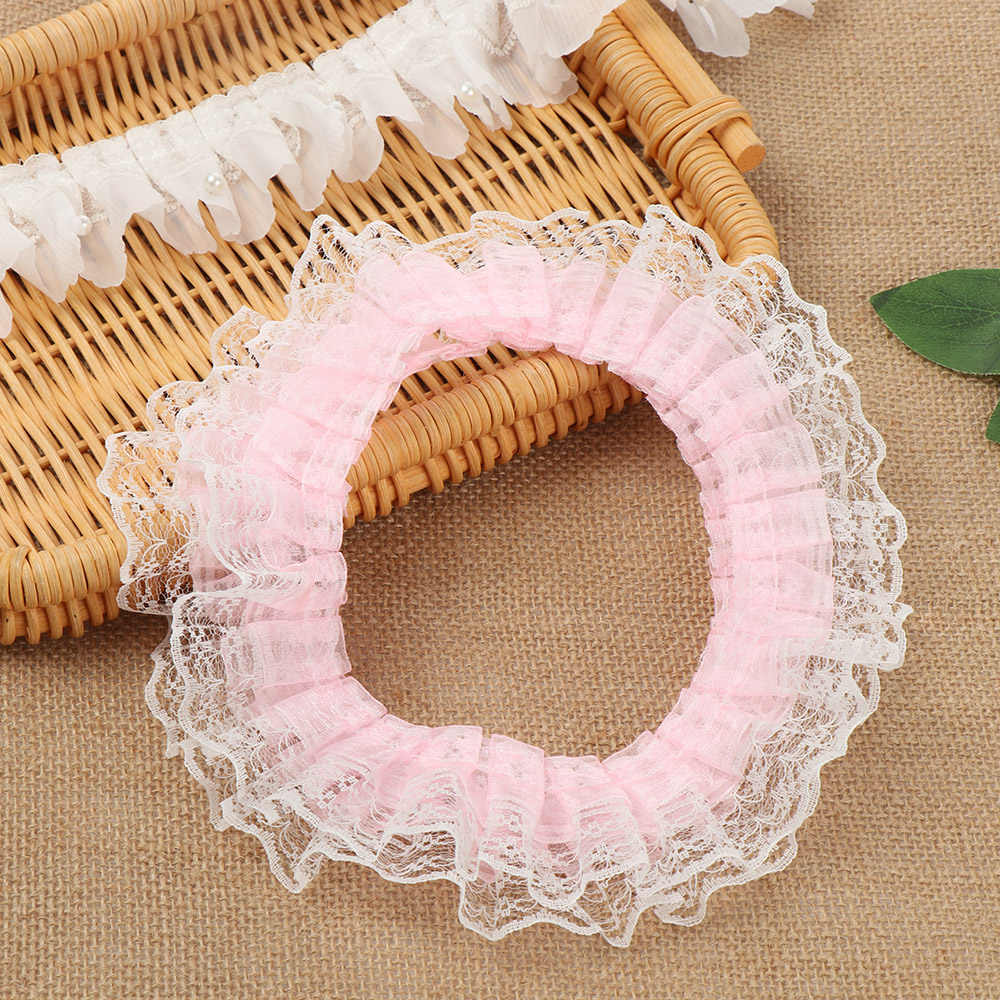 Material Embroidered Collar Ribbon Lace Fabric 3D Pleated Mesh Ruffle Trim