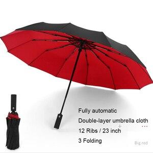 Image 5 - เต็มอัตโนมัติ OVERSIZE เสริมร่มสามพับชายร่ม Parasol หญิงร่มฝนผู้หญิง Windproof ร่ม