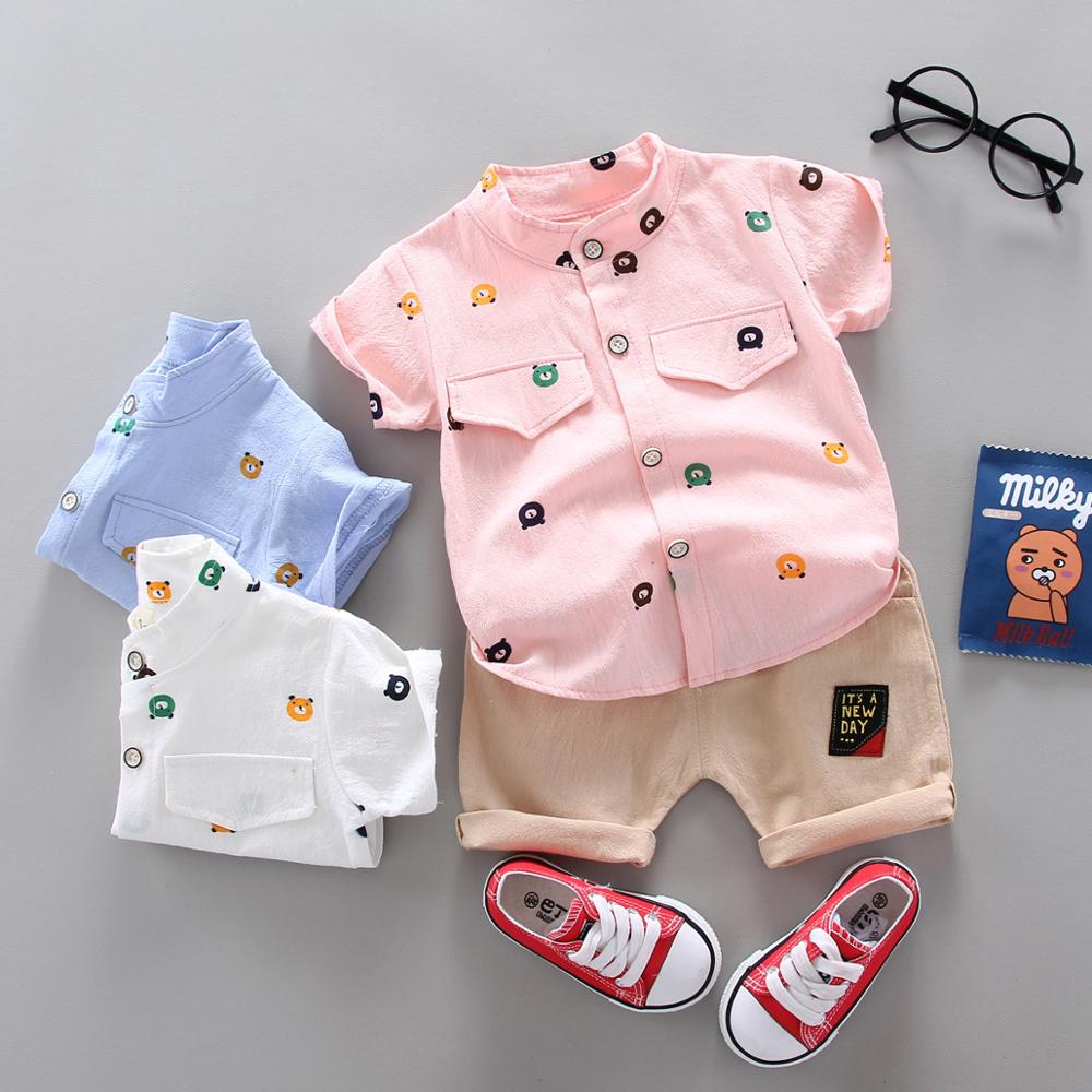 New Baby Boy Clothes Summer Short Sleeve Shorts Casual Suit Cartoon Bear Print Cotton Baby Two-piece Cotton And Linen Shirt Suit