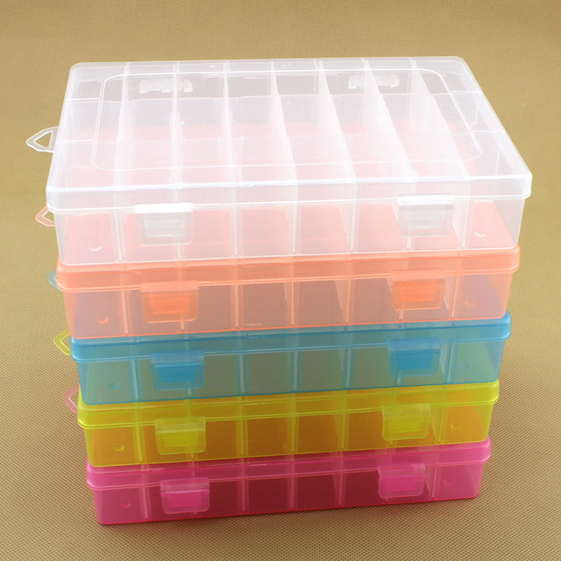 24 Grids DIY Tools Packaging Box Portable Electronic Components Screw Removable Storage Screw Jewelry Tool Case Colorful Plastic