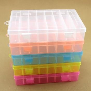 24 rejillas DIY herramientas caja de embalaje portátil tornillo de componentes electrónicos de almacenamiento extraíble tornillo de joyería caja de herramientas de plástico colorido