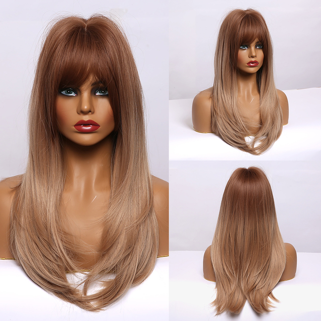 EASIHAIR Long Straight Wigs with Bangs Black to Brown Ombre Synthetic Wigs for Black Women Daily Natural Cosplay Wigs