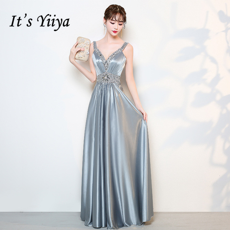 It's Yiiya Evening Dress Party Dresses V-Neck Sleeveless Long Formal Gowns Elegant Sleeveless Long Women Robe De Soiree K160