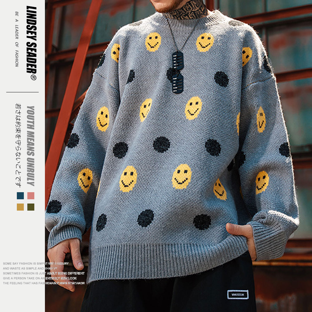 Lindsey Seader Smile Face Dots Sweater Women Men 2020 Autumn Warm Fashion Long Sleeve Knitted Pullover High Quality Clothes