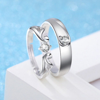 Sterling Silver Angel Wing Couple Set 4
