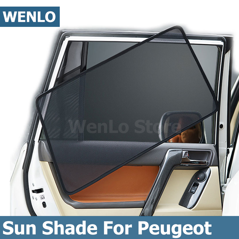 WENLO 4Pcs Magnetic Car Side Window Sunshade Laser Shade Sun Mesh Cover For Peugeot 301 307 308 S 408 508 2008 3008 4008 5008 image