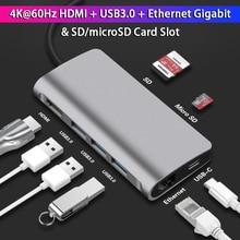 USB C Docking Station 4K 60Hz & 5Gbps USB3.0 Interface PD Fast Charge Input 1000M RJ45 Ethernet LAN Port SD/TD Card Slot sd h1 1000m матовый