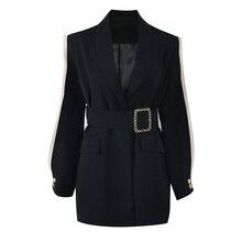 Возможно U женский черный лоскутный кушак с карманами пуговица шифон сетки с длинным рукавом шаль воротник блейзер оверсайз C0183