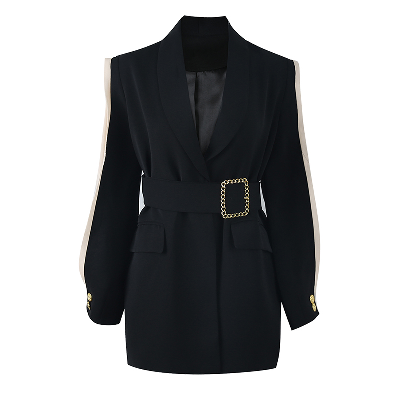 Blazer Oversize Button Collar Mesh Long-Sleeve Patchwork Chiffon Black Women Pocket Shawl title=