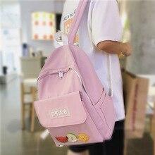 Высокое качество водонепроницаемый нейлон женщины рюкзак женский прозрачный передний карман рюкзак мода для девочек-подростков путешествия