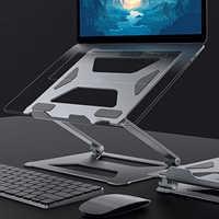 Soporte ergonómico de aluminio para portátil, bandeja de refrigeración ajustable, elevador de Base para Notebook, ordenador, tableta, ventilación