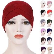 Müslüman kadınlar başörtüsü türban katı renk Chmeo kap şapka islam başörtüsü şal arap bere Bonnet saç dökülmesi kapak streç başörtüsü