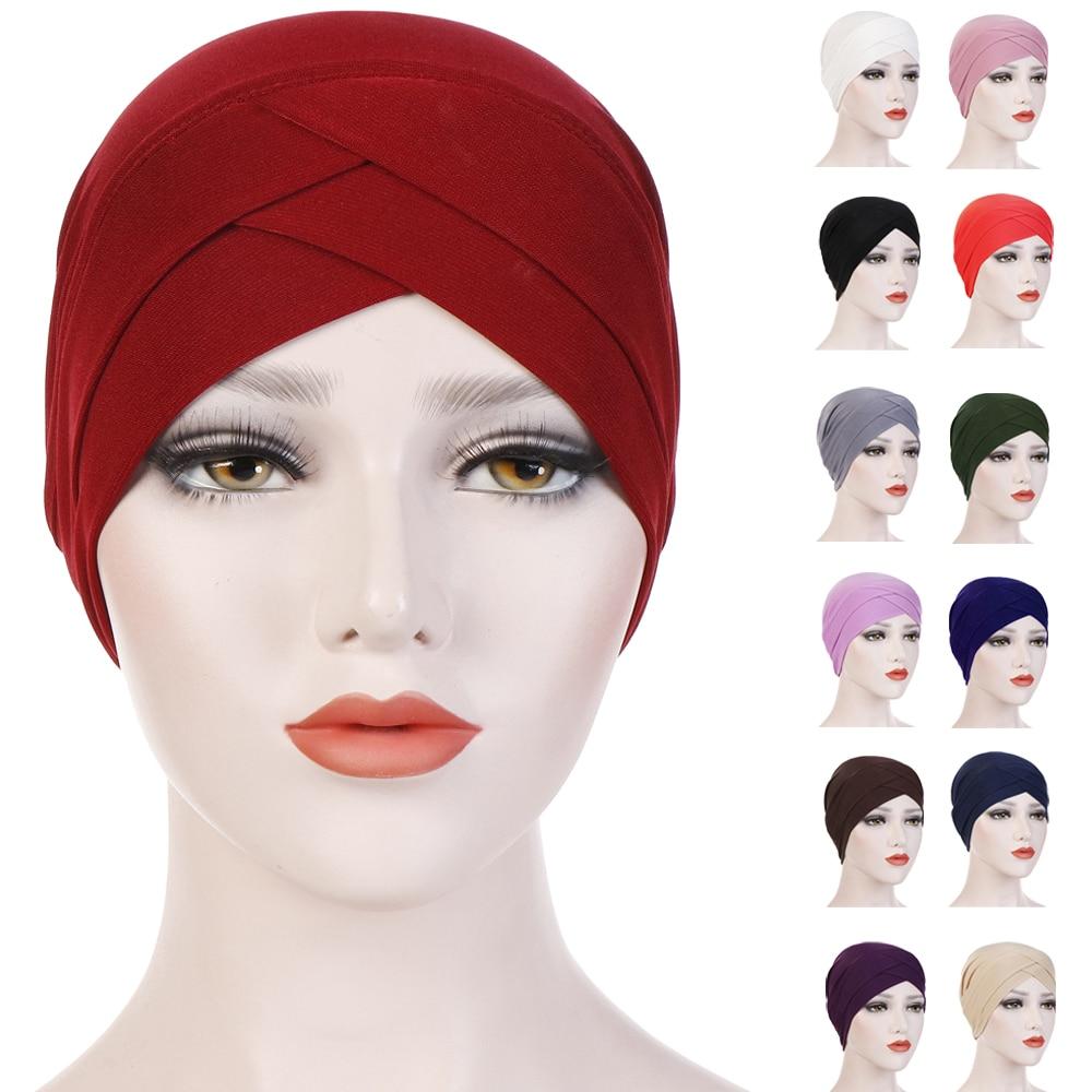 Muslim Women Hijab Turban Solid Color Chmeo Cap Hat Islamic Head Scarf Wrap Arab Beanie Bonnet Hair Loss Cover Stretch Headscarf