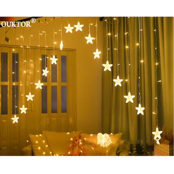 Wakacje 3M gwiazda led Fairy kurtyny świetlne Garland łańcuchy świetlne 100-240V na boże narodzenie w domu wesele dekoracji tanie i dobre opinie Ouktor Star CN (pochodzenie) Led Star Christmas Curtain Lights Koraliki LED Christmas Fairy String Lights For Home Holiday Party Xmas Outdoor