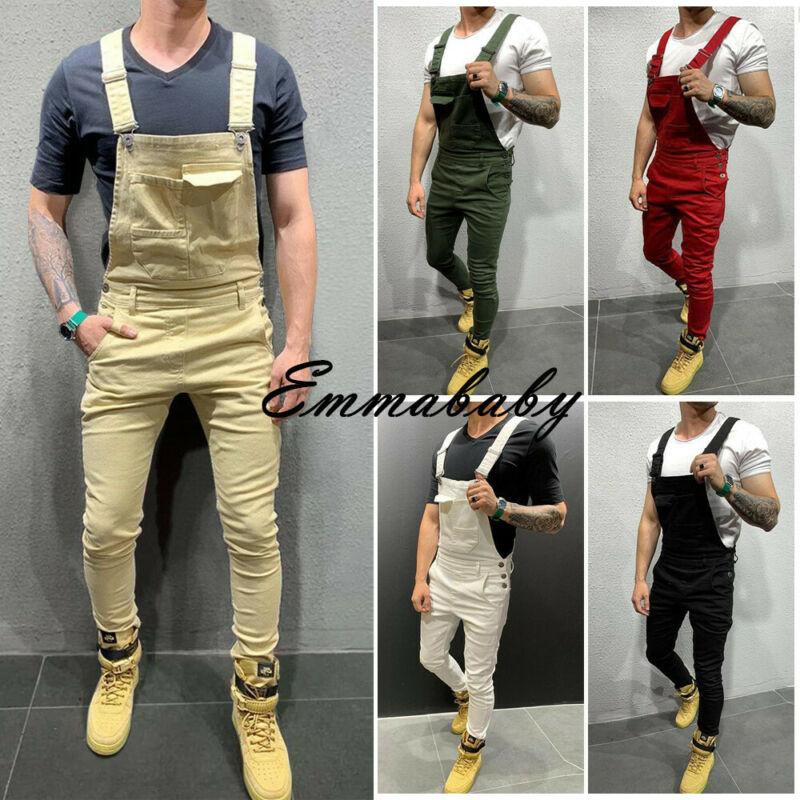 Mens Jumpsuits Overalls Fashion Men Denim Bib Overalls Jumpsuits Moto Biker Jeans Pants Trousers Suspenders Romper Trousers HOT