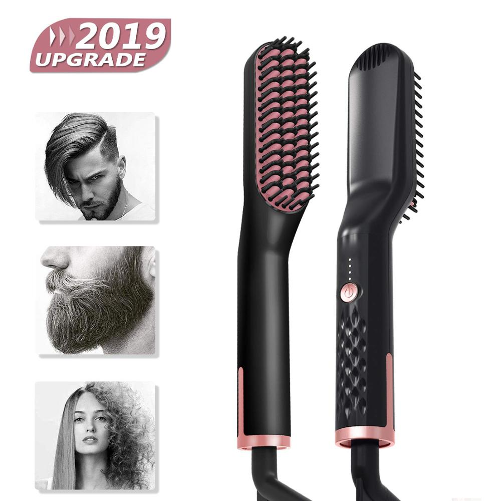 3 In 1 Hair Straightener Brush Anti Static Ceramic Heating Detangling Faster Straightening Beard Comb For Man Beard Straightener