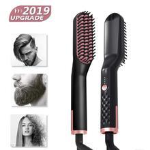 3 in 1 Hair Straightener Brush Anti Static Ceramic Heating D