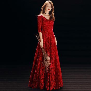 Seksowna suknia ślubna z dekoltem w serek elegancka koronka suknia wieczorowa szlachetna linia a suknia wieczorowa zasznurowana sukienka Maxi duży rozmiar 3XL tanie i dobre opinie POLIESTER DROBNY WZÓR CN (pochodzenie) N2080608 Red Burgundy XS S M L XL XXL XXXL Full Length Half Sleeve V-neck Floral